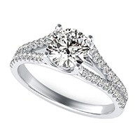 Trellis Split Shank Engagement Ring With Side Stones
