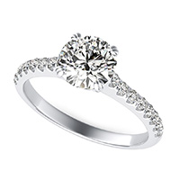 Classic Side Stone Engagement Ring With Twisted Prongs