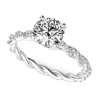 Marcela Twist Engagement Ring With Side Stones
