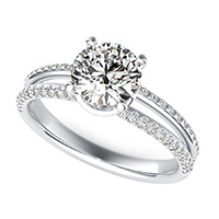 Split Shank Engagement Ring With Side Stones