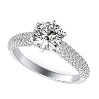 Cathedral Micro-Pave Half Eternity Engagement Ring