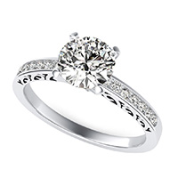 Cut Through Scroll Engraving Engagement Ring With Channel Set Side Stones