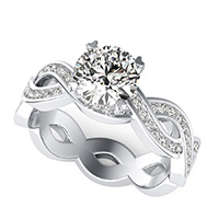 Eternity Infinity Twist Engagement Ring With Channel Set Side Stone