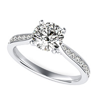 Cathedral Engagement Ring With Channel Set Side Stones And Scroll On The Side