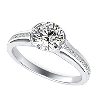 Half Bezel Engagement Ring With Channel Set Side Stones