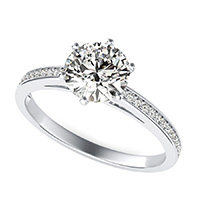 Cathedral Engagement Ring With Pave Set Side Stones