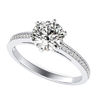 Cathedral Engagement Ring With Milgrain Pave Set Side Stones