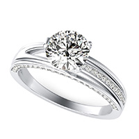 Amore Engagement Ring With Pave Side Stones