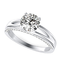 Amore Trellis Split Shank Engagement Ring With Pave Side Stones