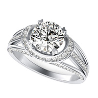 Amore Halo Engagement Ring With Pave Side Stones