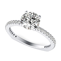 Classic Side Stone Engagement Ring With Square Shank