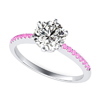 Victoria Royal Classic Engagement Ring With Prong Set Side Stones