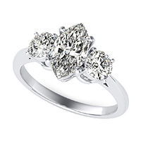 Cathedral Three Stone Basket Engagement Ring