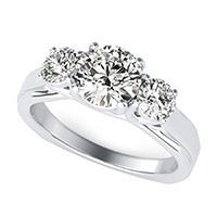 Three Stone Trellis Engagement Ring With Square Shank