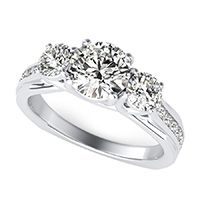 Amore Three Stone Trellis Square Shank Engagement Ring With Side Stones