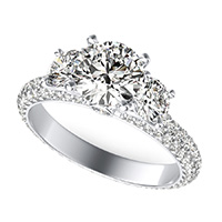 Yiara Three Stone Engagement Ring With Eternity Micro-Pave Shank