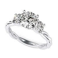 Yiara Three Stone Engagement Ring With Twisted Marcela Shank