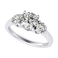 Three Stone Engagement Ring With Engraved Heart Basket