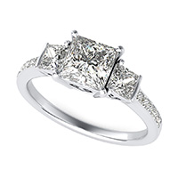 Three Stone Engagement Ring With  Heart Basket and Diamond Shank