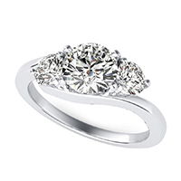 Eluna Prong Set Three Stone Engagement Ring