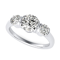 Half Bezel Three Stone Engagement Ring