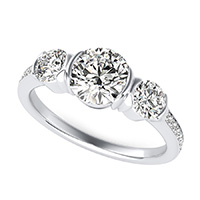 Half Bezel Three Stone Engagement Ring With Accented Side Stones