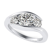 Eluna Tension Set Three Stone Engagement Ring