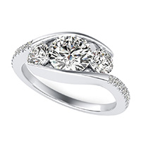 Eluna Tension Set Three Stone Engagement Ring With Accented Side Stones