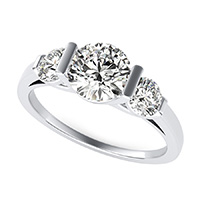 Landora Cathedral Three Stone Engagement Ring