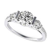 Landora Cathedral Three Stone Engagement Ring With Pave Side Stone
