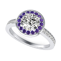 Classic Low Setting Halo Pave Engagement Ring