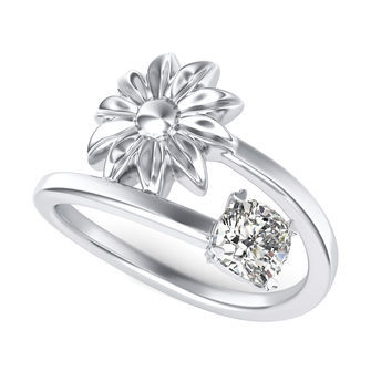 Solitaire Flower Ring