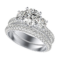 Yiara Three Stone Engagement Set With Eternity Micro-Pave Shank
