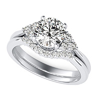 Cluster Triangle Shape  Three Stone Engagement Ring With A Matching Band