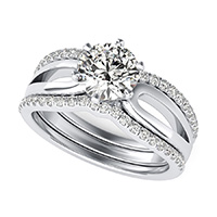 Victoria Royal Solitaire Infinity Split Shank Engagement Ring With Two Matching Bands