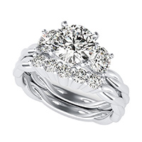 Yiara Three Stone Engagement Ring With Twisted Marcela Shank & Matching Band