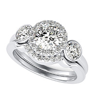 Simple Three Stone Halo Engagement Ring With Bezel Set Side Stones & Matching Band