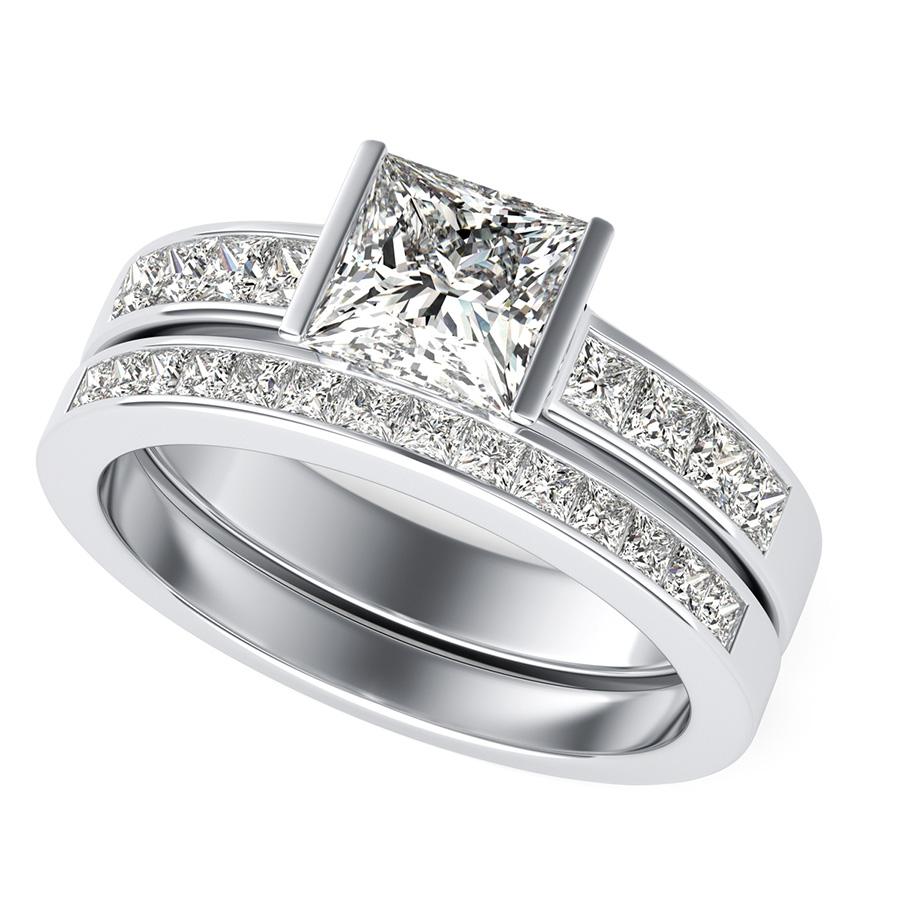 Tension Set Engagement Ring With Channel Side Stones Matching Wedding Band