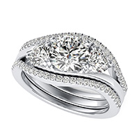 Eluna Prong Set Three Stone Engagement Ring With Matching Band