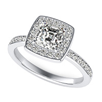 Classic Square Halo Pave Set Engagement Ring