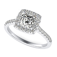 Halo Engagement Ring With Side Stones