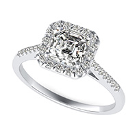 Cathedral Halo Engagement Ring With Side Stones