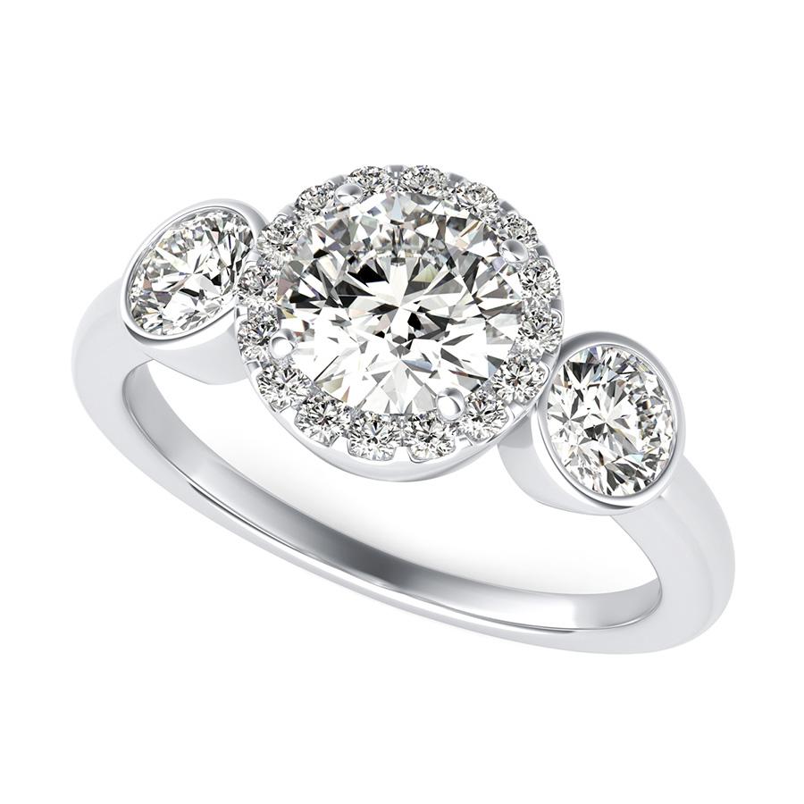 Stuller Three Stone Side Stones: Simple Three Stone Halo Engagement Ring With Bezel Set
