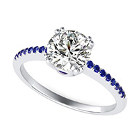 Basket Head Engagement Ring With Side Stones