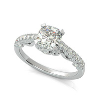 Lanna Royal Antique Inspired Engagement Ring With Scrolls & Milgrain On The Side