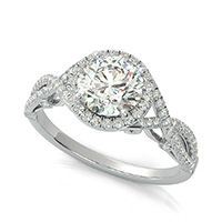 Lanna Royal Antique Inspired Twist Halo Engagement Ring