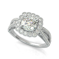 Lanna Royal Antique Inspired Split Shank Halo Engagement Ring