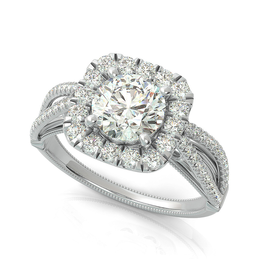 bfb87b979a8a8 Lanna Royal Antique Inspired Split Shank Halo Engagement Ring - Halo ...