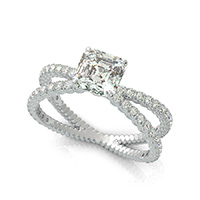 Criss Cross X Engagement Ring