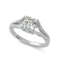 Lanna Royal Antique Inspired Split Shank Engagement Ring With Scroll